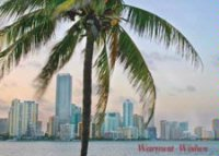 Miami Skyline at Dusk Holiday Card