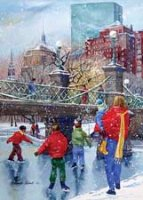 Skaters at the Bridge Holiday Card