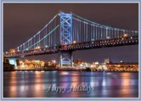 Ben Franklin Bridge Radiance Holiday Card