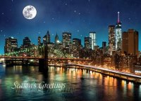 Lower Manhattan at Night Holiday Card