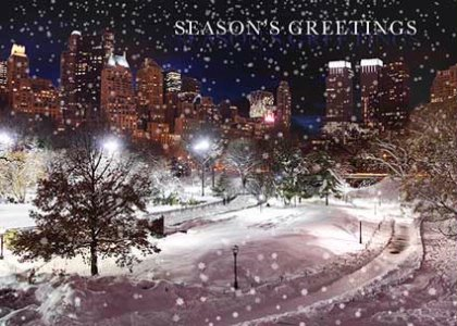 Central park winter holiday card