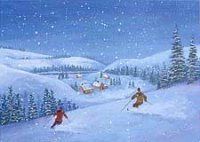 Twilight Skiers (ED0312) Charity Holiday Card